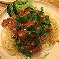 Spaghetti with a tomatoes-sardine sauce and broccoli トマトとイワシのスパゲティ、ブロッコリー添え.jpg