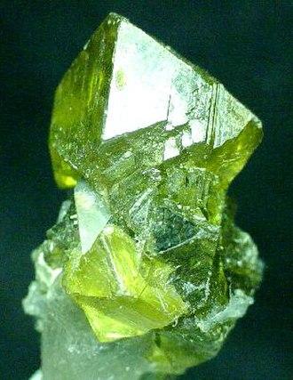 Edwards, New York - Gemmy sphalerite crystal from the Balmat-Edwards Zinc District. Size 2.75 x 1.75 x 1.5 cm.