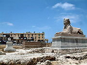 Alexandria, sphinx made of pink granite, Ptolemaic.