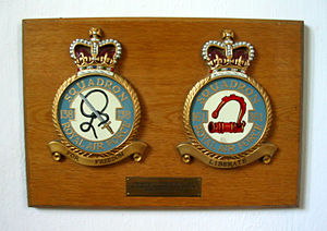 RAF Tempsford - The 138 and 161 Squadron badges on display inside St Peter's Church, Tempsford