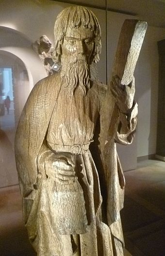 Saint Andrew, carving c.1500 in the National Museum of Scotland St. Andrew carving, c.1500.JPG