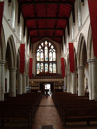 Victorian restoration - The nave of St Peter's, Berkhampstead with Butterfield's restorations