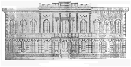 A contemporary sketch of the original Town Hall, built 1839