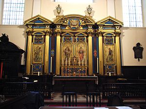 St Clement's, Eastcheap - St Clement, Eastcheap: the reredos in May 2008