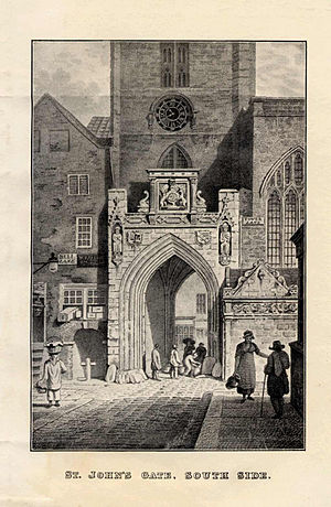 Church of St John the Baptist, Bristol - Printed line engraving from 1816 showing the south view of the old city gate of Bristol, UK, with the Church of St John the Baptist, Bristol tower above it, and Nave built into the city walls.  The engraving shows historic buildings around the church which are no longer standing, and eight figures walking through the gate in 19th century costume. On the right of the picture can be seen the building abutting the church which held the St John's Conduit on the east side of the building on Broad Street. The conduit today is on the west side within the old city walls on Quay Street.