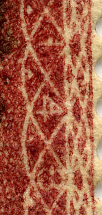 Penny Red - The plate number, 148 in this case, may be found in the margin of the stamp.