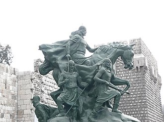 Statue of Saladin - Statue of Saladin in front of the Citadel of Damascus