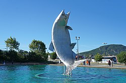 Statue of a huge salmon in Campbellton, New Brunswick - panoramio.jpg