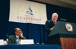 Michael Steele - Steele listens during then-Vice President Dick Cheney's address at the Second Annual African American Leadership Summit in Washington, D.C., Wednesday, April 28, 2004.