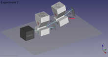 3D model of 2 S-G analyzers in sequence, showing the path of neutrons. Both analyzers measure the z-axis