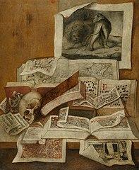 Nature morte avec livres, estampes et cartes