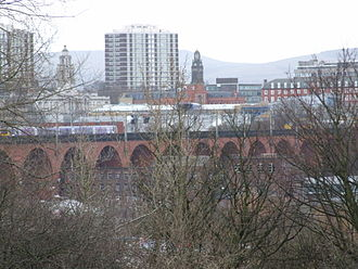 Heaton Norris - The viaduct, with Stockport centre in the background