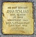 Stolperstein Anna Schlang-Glaser Esch-Alzette, 60 rue Léon Weirich 01.jpg