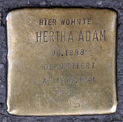 Photo of Hertha Adam brass plaque