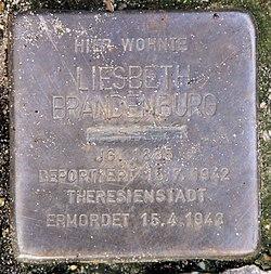 Photo of Liesbeth Brandenburg brass plaque