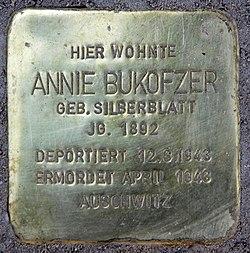 Photo of Annie Bukofzer brass plaque