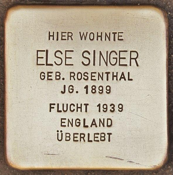 Datei:Stolperstein für Else Singer (Wolfenbüttel).jpg