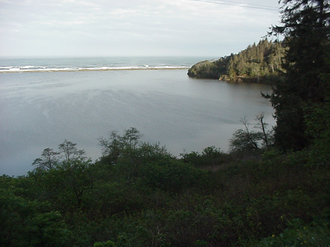 Humboldt Lagoons State Park - Stone Lagoon and coastal bar viewed from Highway 101