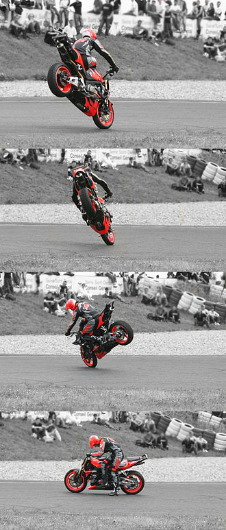 Stoppie - Stoppie 180, by Duke (French champion) during the Stunt Bike Show, in Carole Racetrack