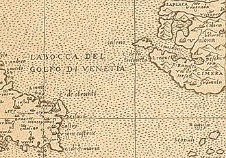 Sazan Island - The Strait of Otranto on a map from the beginning of the 17th century.