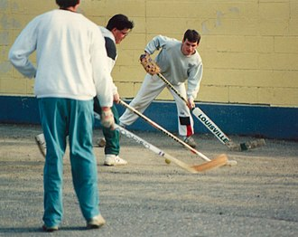 Street hockey - A game of street hockey in St. Andrews, New Brunswick, Canada.