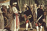 Suffren meeting with Haider Ali, 26 july 1782 engraved by J B Morret 1789