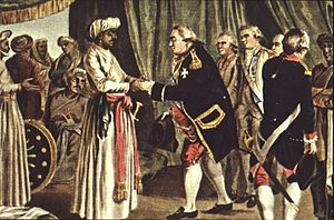 Foreign alliances of France - Suffren meeting with Hyder Ali in 1782, J.B. Morret engraving, 1789.