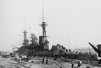HMS Agincourt (1913) - Sultan Osman-ı Evvel, soon to become Agincourt, in the fitting-out stage of her construction
