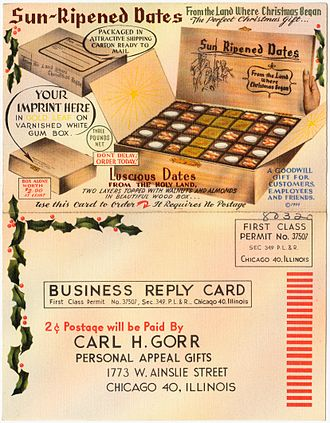 """Freepost - """"Use this card to order - it requires no postage"""" c.1949"""