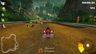 Kart racing game - SuperTuxKart is a kart racing game featuring mascots of open-source software.
