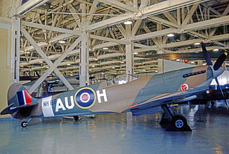No. 421 Squadron RCAF - Supermarine Spitfire IX wearing the Red Indian markings and AU code of No. 421 Squadron on display at the Canadian Aviation Museum at Rockcliffe Airport near Ottawa.