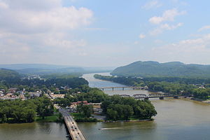 Northumberland County, Pennsylvania - Susquehanna River from the Shikellamy State Park overlook, looking upriver. The West Branch Susquehanna River  is in the foreground.