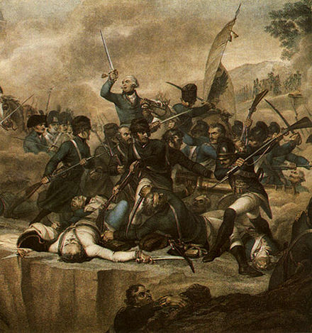Suvorov and a Russian-Austrian army defeat the French at the Battle of Cassano on 27 April 1799 by Luigi Schiavonetti Suvorovs Battle By Adda.jpg