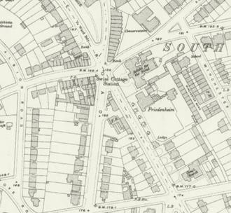 Swiss Cottage tube station (1868–1940) - Station on a 1915 Ordnance Survey map
