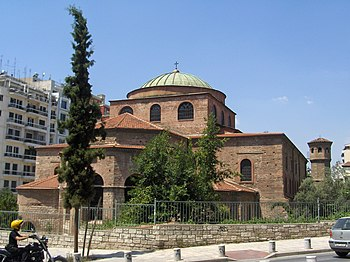 Exterior view of Aghia Sophia in Thessaloniki.