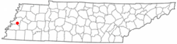 Location of Henning, Tennessee