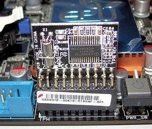 Low Pin Count - Trusted Platform Module installed on a motherboard, and using the LPC bus