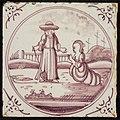 Tafereeltegel, Jezus verschijnt aan Maria Magdalena, hoekmotief ossenkop, objectnr 1544-8.JPG