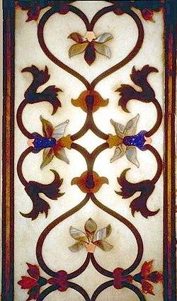 Floral Parchin Kari Work In The Taj Mahal