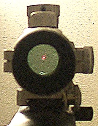 Red dot sight - View through Tasco ProPoint red dot sight (model PDP2ST) on a Ruger 10/22. Made in Japan for Tasco, the ProPoint 2 was one of the first red dot sight models to become widely popular.