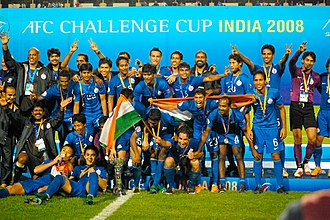 India national football team - India celebrating after winning the 2008 AFC Challenge Cup.