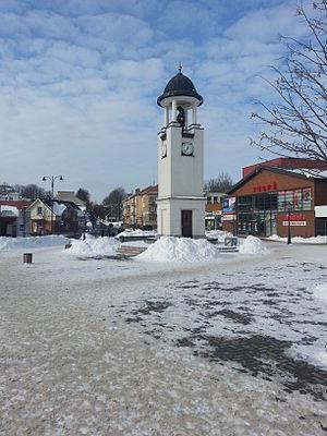 Telšiai - Telšiai clock-tower with a bear, the symbol of Samogitia and Telšiai