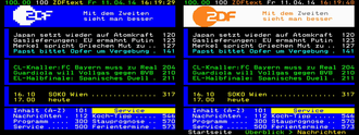 Teletext - Comparison between teletext Level 1.0 and teletext Level 2.5.