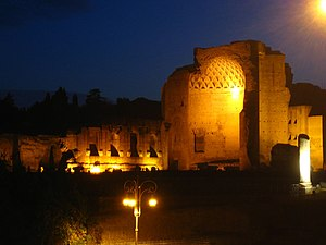 Temple of Venus and Roma - The temple's apse by night