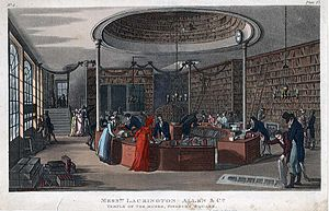 "James Lackington - Interior of the Temple of the Muses, showing the circular counter and space large enough for ""a mail-coach and four"" to drive around it."