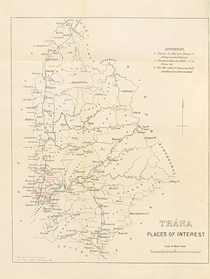 Thane - Thana district Places of Interest 1896 map