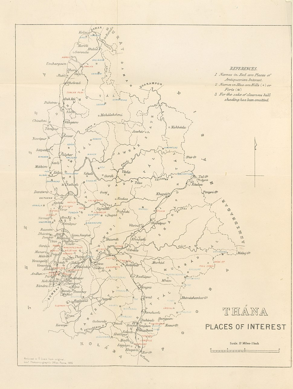 Thana district Places of Interest 1896 map