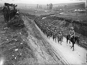 7th Infantry Division (United Kingdom) - Column of the 2nd Battalion, Gordon Highlanders marching to the trenches along the Becordel-Fricourt road, France, October 1916.