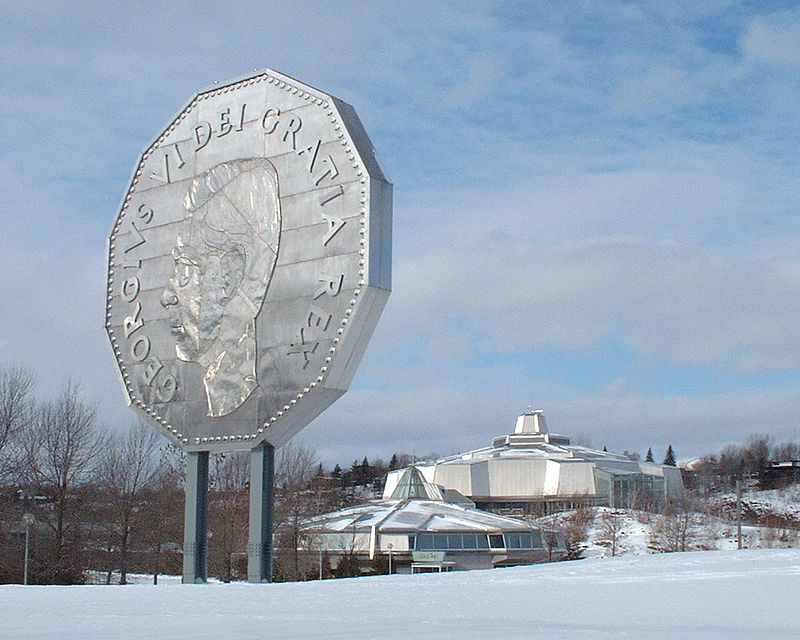 the big nickel, giant coin at the Science North center in Greater Sudbury, Ontario