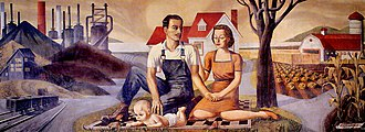 Section of Painting and Sculpture - The Family, Industry and Agriculture (1939) by Harry Sternberg, in the old Ambler, Pennsylvania U.S. Post Office